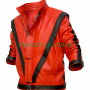 michael jackson thriller red real leather jacket