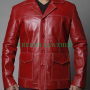 fight club tyler durden (brad pitt) red real leather jacket/coat