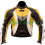 black and yellow motorcycle bikers racing real leather jacket