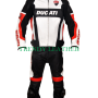 ducati corse black and white bikers racing leather suit