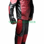 superman man of steel combination red and black real leather suit