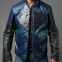 superman man of steel combination blue and black real leather jacket