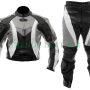 motorcycle 2pcs black and green bikers leather suit