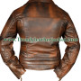 Classic Diamond Biker Brown Distressed Vintage Leather Jacket