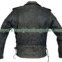 Mens Brando Belted Biker Black Distressed Leather jacket