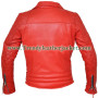 Classic Diamond Red Motorcycle Biker Real Leather Jacket