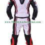 Classic motorcycle 2pcs white bikers racing leather suit