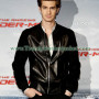 Andrew Garfield Suede Sleeves Black Leather Bomber Jacket2