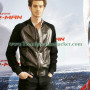 Andrew Garfield Suede Sleeves Black Leather Bomber Jacket3
