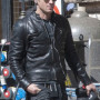 Justin Theroux Black Real Sheep Skin Leather Jacket