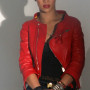 Rihanna Red Real Cowhide Leather Jacket