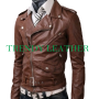 slimfit belted brown faux leather jacket