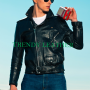 young men fashionable real leather jacket