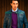 Young mens navy blue stylish fashionable real leather bikers jacket