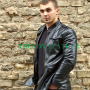 Young mens black stylish fashionable real leather bikers blazer/jacket