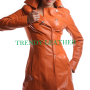 young women fashionable brown real leather coat/jacket.