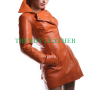 Young women's brown fashionable real leather coat/jacket.