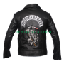 sons of anarchy soa real leather & fleece highway motorcycle biker jacket