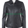 women's fashionable front zipper real leather jacket