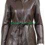 women's stylish brown zipper with belt real leather jacket