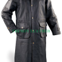 men's stylish leather dusters black long real leather coat