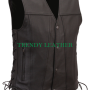 men's classic vintage black bikers real leather vest.