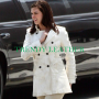get smart anne hathaway white real leather coat/jacket