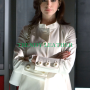 get smart anne hathaway white long leather coat/jacket