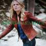 once upon a time jennifer morrison red real leather jacket