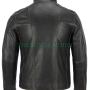 mens black rivet leather jacket with distressed faded seams