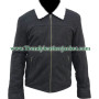 the walking dead rick grimes 100% suede black leather jacket