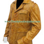 Mens Classic Brown Wax Real Leather Blazer Coat