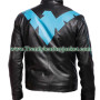 Dick Grayson Nightwing Leather Jacket With Eagle Logo