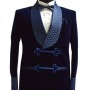 Men Blue Smoking Velvet Jacket Quilted Stylish blazers