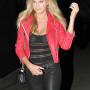 Charlotte McKinney Red Real Sheep Skin Leather Jacket