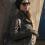 Jennifer Lawrence Red Sparrow Black Real Cowhide Leather Jacket 2