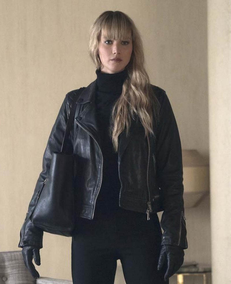 Jennifer Lawrence Black Real Cowhide Leather Jacket ...
