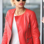 Rita Ora Red Real Cowhide Leather Jacket 2