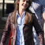 Keri Russell Brown Real Cowhide Leather Jacket