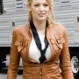 Blake Lively Tan Brown Real Cowhide Leather Jacket
