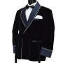 Black And Navy Blue Satin Coat With Belt 03 copy
