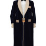 Navy Blue And Biscuit Satin Lapel Gown 01 copy