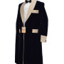 Navy Blue And Biscuit Satin Lapel Gown 04 copy